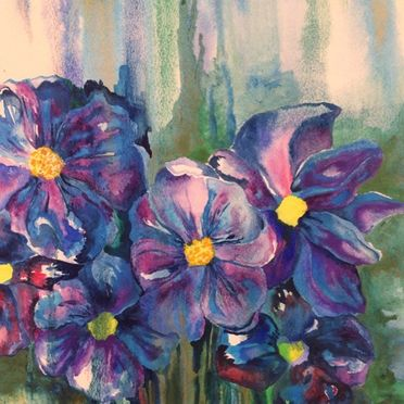 watercolour painting, wall art, purple blue pansies, gold, green, blue , one off , original painting