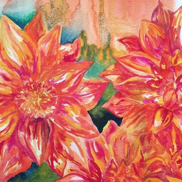 watercolour painting dahlias flowers red orange yellow one off original affordable wall art