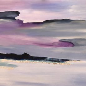 acrylic mixed media painting stretched canvas wall art one off original modern contemporary landscape sky purple blue silver
