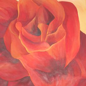 red orange rose painting wall art