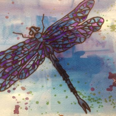 Glass painting purple turquoise dragonfly black outliner wall art