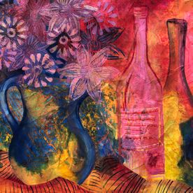 wall art original one off contemporary art modern affordable painting mixed media acrylic print one of original mixed media painting of a jug of flowers, two bottles artist's work still life flowers bottles gold red blue yellow