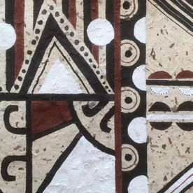 primitive art painting handmade paper abstract African influence brown black white original