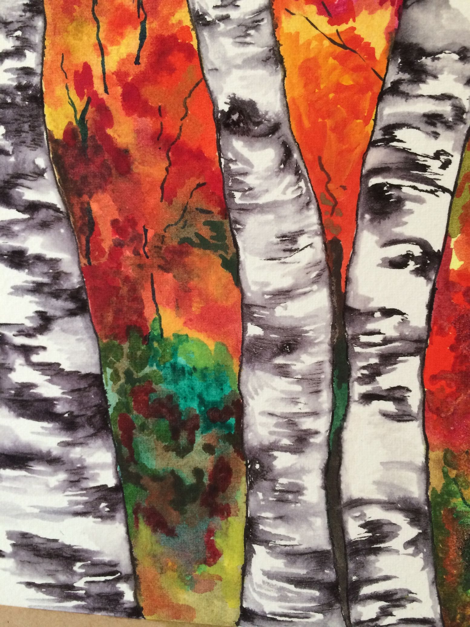 water colour workshops for adults pen ink birch trees