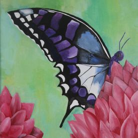 Purple blue black butterfly pink flowers green background original wall art