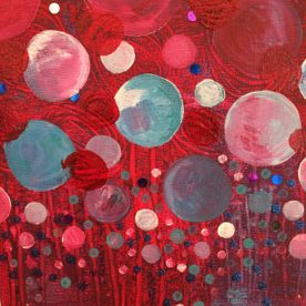 contemporary modern wall art one off original acrylic mixed media painting red blue glitter canvas art
