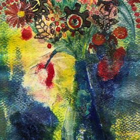 wall art still life mixed media print red blue yellow flowers painting