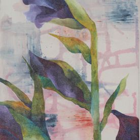 2 Purple Gladioli canvas wall art