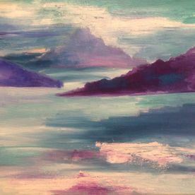 Landscape painting canvas wall art blues purples