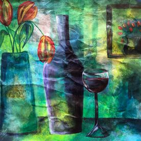 a one off original in oil pastels acrylic paint on paper wall art contemporary art affordable artist's painting still life green blue tulips