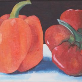 red pepper orange pepper black white background painting on canvas one off original art work wall art for the kitchen