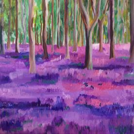 Acrylic landscape painting purple bluebell woodland canvas wall art