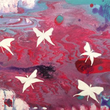 white butterflies abstract art pink turquoise white red acrylic paint wall art