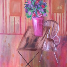 canvas painting of a room vase of flowers still life canvas wall art