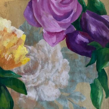 one off original contemporary art painting mixed media flowers wall art roses pink purple yellow gold framed