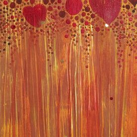 abstract wall art original art red hearts copper mixed media acrylic painted canvas