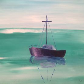 Acrylic painting boat on turquoise seas