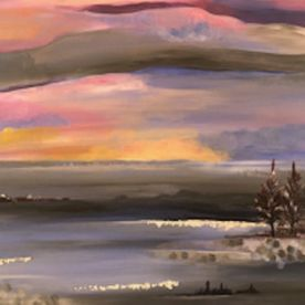 Acrylic winter landscape silver leaf wall art contemporary modern original trees lake skies purple pink blues grey s