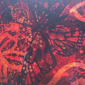 batik canvas wall art butterflies red yellow black one off original