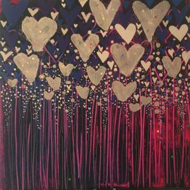 abstract mixed media and acrylic painting silver hearts wall art one off original