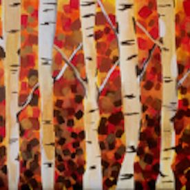 wall art one off original, acrylic painting, birch trees, autumn colour, golds, reds