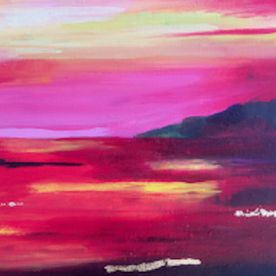wall art red sunset sunrise landscape gold leaf abstract one off original contemporary
