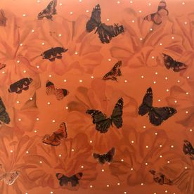 one off original contemporary art painting mixed media butterflies copper acrylic paint rhinestone gems affordable artist work wall art