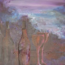 still life mixed media painting purple red blue contemporary stylish wall art