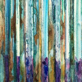 abstract watercolour bluebell woods painting art original one off contemporary purple gold green blue silver