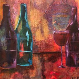 wall art original contemporary one off original still life wine bottles modern affordable art gold green purple