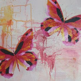 painted red black pink butterflies original canvas wall art
