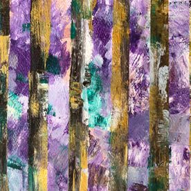 abstract acrylic painting bluebell woods modern contemporary one off original wall art purple gold silver