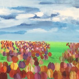 Red yellow pink field of tulips blue sky landscape art