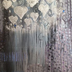 silver mixed media canvas wall art