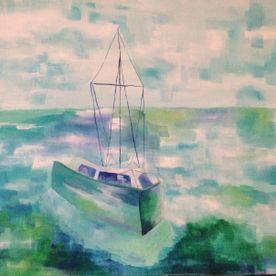 Painting a yacht on blue green turquoise sea