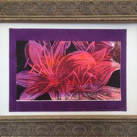 printed pink lily framed original art work