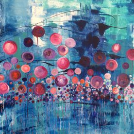 modern contemporary abstract wall art painting canvas, one off original, blue turquoise, pink, white, purple, circles