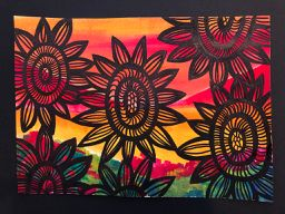 Flowery Sunset:- acrylic painting, black flowers orange yellow landscape watercolour paper wall art modern original one off