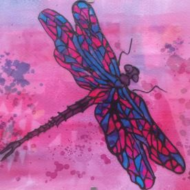 pink blue purple dragonfly glass painting one off original wall art