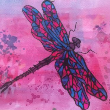 Glass Painting dragonfly pink turquoise black outliner