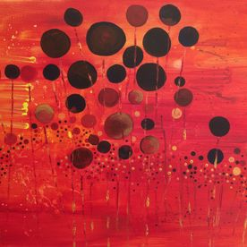 wall art original one off abstract contemporary painting reds, orange, golds, spheres