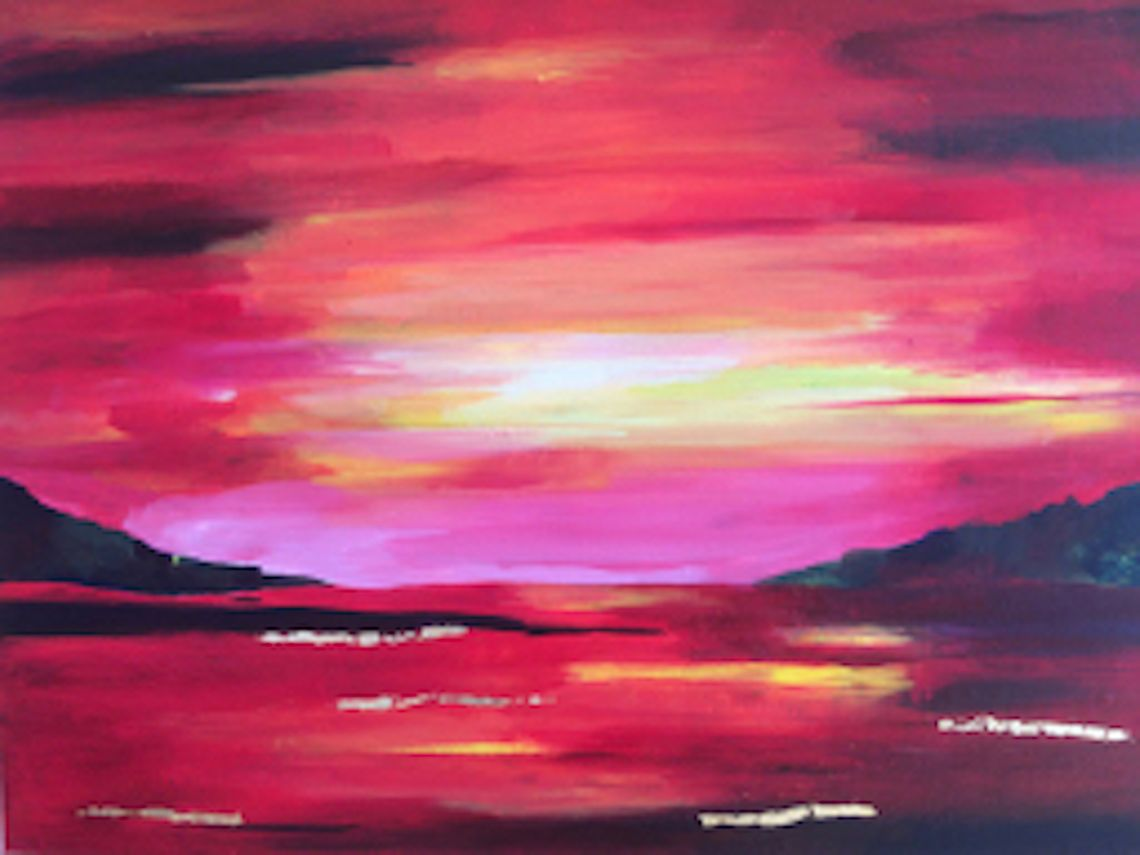 sunset abstract acrylic wall art red gold one off original