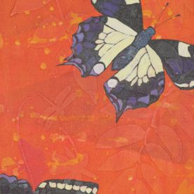 painted black purple white butterflies orange relief background original canvas wall art