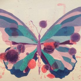 Blue & Purple Butterfly painted canvas wall art