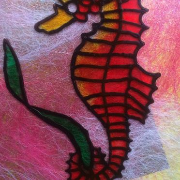 red yellow seahorse pink and metallic background glass painting wall art