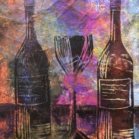 wall art printed mixed media inks oil pastel wine bottles glass black red original one off modern contemporary