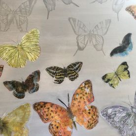 one off original contemporary art painting mixed media butterflies wall art affordable silver