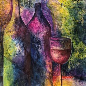 art work original one-off wall art still life bottles of wine mixed media pink purple blue yellow affordable art