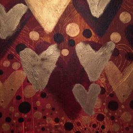 wall art gold red hearts canvas painting one off original