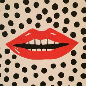 pop art red lips black dots wall art canvas original painting